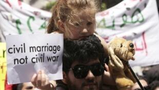 Manifestantes libaneses pidieron el domingo en Beirut un sistema laico para Líbano.