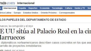Impression d'écran du site web du journal El Pais du 3 décembre 2010.