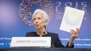 La directrice du FMI Christine Lagarde lors de la réunion annuelle du FMI et la Banque mondiale, organisée à Lima, le 8 octobre 2015.