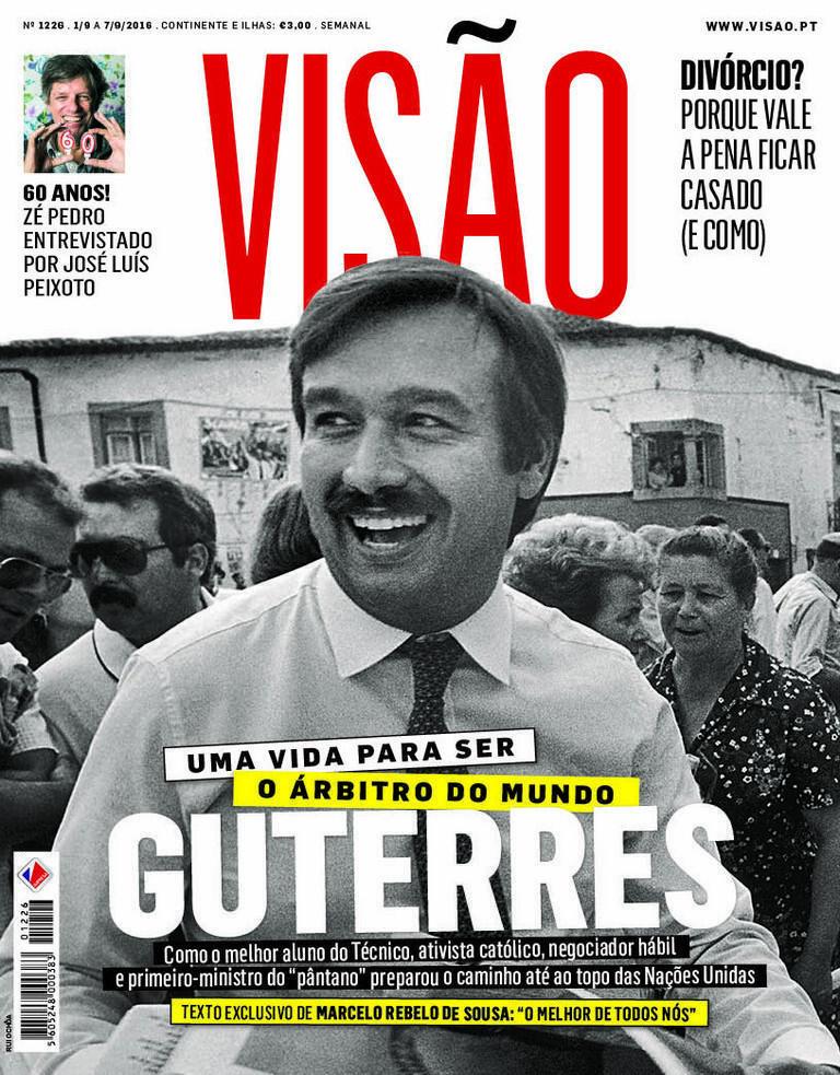 Antonio Guterres jeune et moustachu, à la Une de l'hebdomadaire Visão.