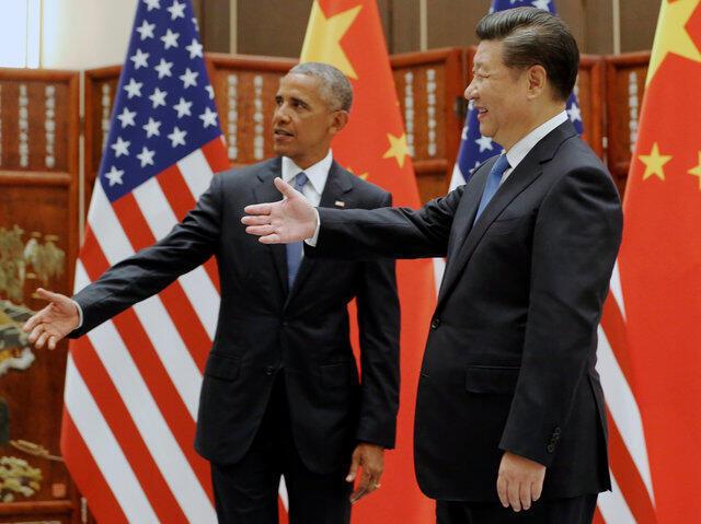 លោក Xi Jinping និងលោក  Barack Obama នាពេលបើកកិច្ចប្រជុំG20 ក្រុង Hangzhou ថ្ងៃទី៣ កញ្ញា ២០១៦