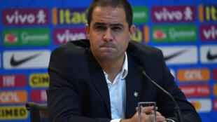 (ARCHIVO) En esta foto de archivo tomada el 6 de marzo de 2020, el entrenador de la selección olímpica de fútbol de Brasil, Andre Jardine, asiste a una conferencia de prensa para anunciar la lista de jugadores para los próximos partidos amistosos, en la sede de la Confederación Brasileña de Fútbol (CBF) en Rio de Janeiro, Brasil.
