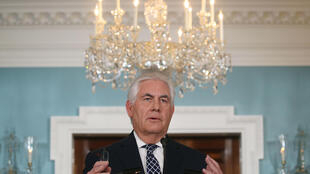 Ngoại trưởng Mỹ Rex Tillerson nói về Iran và Bắc Triều Tiên tại bộ Ngoại Giao Mỹ (Washington DC) ngày 19/04/2017.