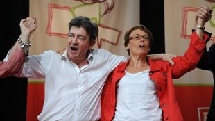 左翼党前党首梅郎雄(Jean-Luc Mélenchon)和比拉尔(Martine Billard)