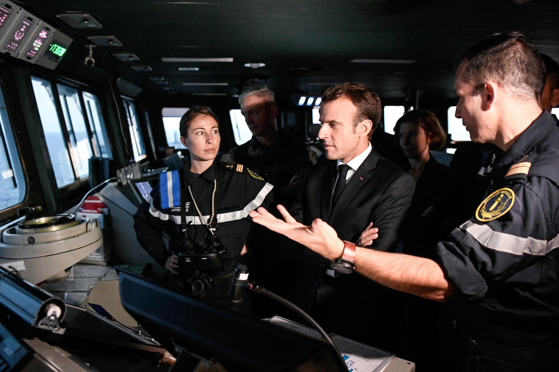 Emmanuel Macron durante su visita del portaviones Charles-de-Gaulle, este 14 de noviembre de 2018 en Tolón.