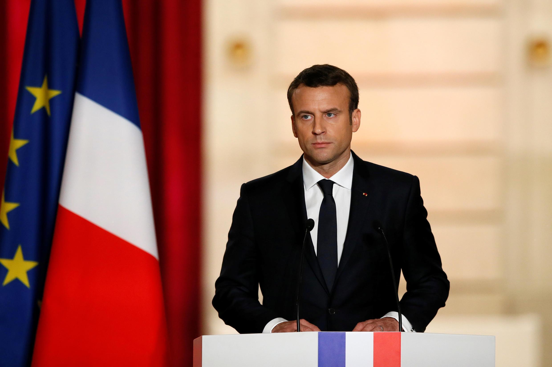 Rais wa Ufaransa Emmanuel Macron akihutubia baada ya kuapishwa. Mei 14, 2017
