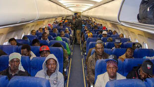 Des migrants en partance de Libye pour le Burkina Faso, en 2016.