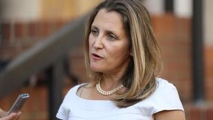 Candian Foreign Minister Chrystia Freeland speaks to journalists outside the U.S. Trade Representative's office in Washington, U.S., August 28, 2018.