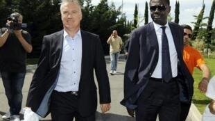 Didier Deschamps et Pape Diouf en 2009.
