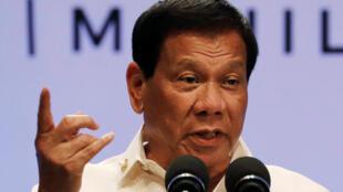 Le président des Philippines Rodrigo Duterte s'est exprimé lors d'une conférence de presse au sommet de l'Asean à Manille, le 29 avril 2017.