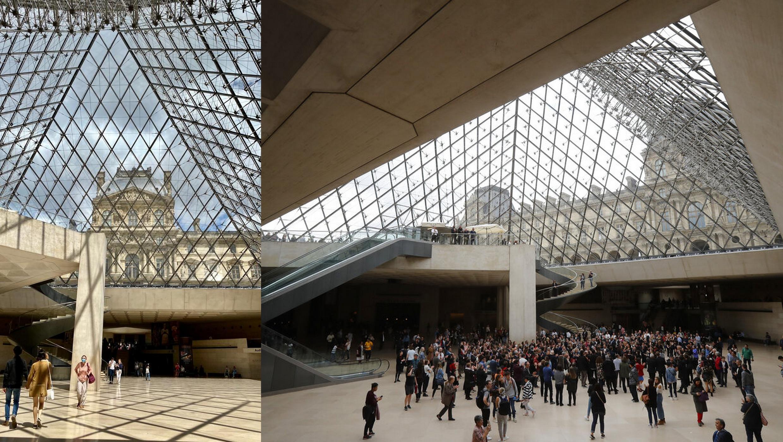 Foto tirada em 17/05/2019 no Louvre (direita) e após a reabertura, em 6 de julho.