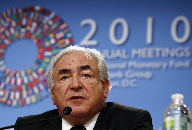 Dominique Strauss-Kahn, diretor geral do FMI, durante uma entrevista coletiva antes da reuinão anual da Organização em Washington, no dia 7 de outubro de 2010.
