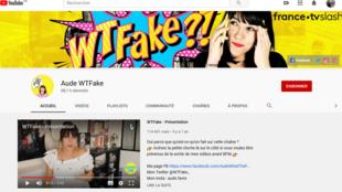 Capture d'écran de la page d'accueil Youtube d'Aude Favre, «AudeWTFake».