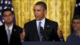Le président américain pendant la présentation de son plan climat, à la Maison Blanche. Washington, le 3 août 2015.
