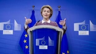 European Commission President Ursula von der Leyen speaks during a press conference on artificial intelligence, 19 February 2020 in Brussels.