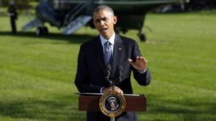 Le président américain Barack Obama s'est exprimé sur Ebola, depuis la Maison Blanche, à Washington, le 28 octobre 2014.