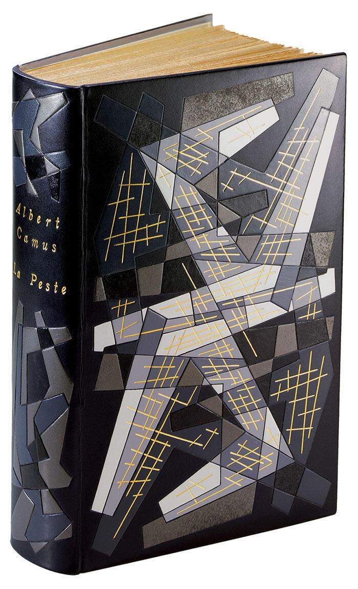 La Peste, de Albert Camus, Paris Gallimard, 1947, encuadernación tipo mosaico de Pierre-Lucien Martin.