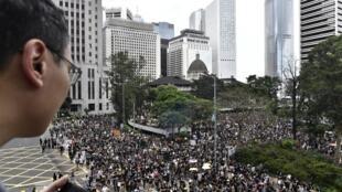 Người biểu tình Hồng Koong đang tập hợp về công viên Chater Garden, khu tài chính Central. Ảnh ngày 28/07/2019.