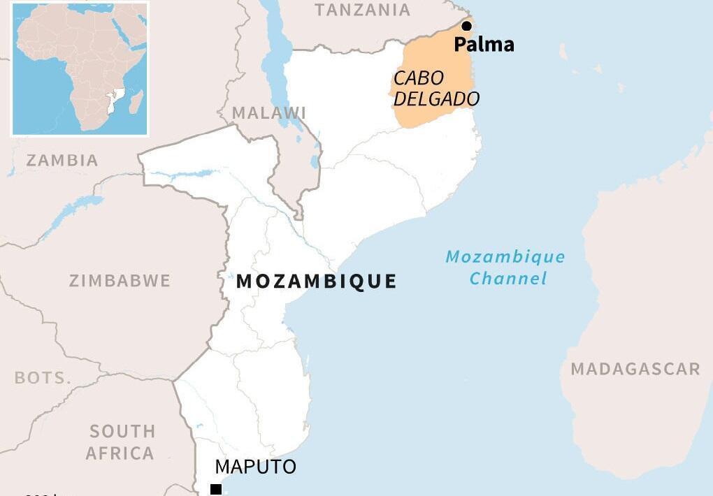 La ville de Palma se situe au nord=est du Mozambique