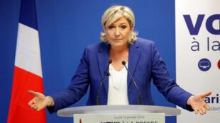 Marine de Pen, presidente da Frente Nacional (FN), durante coletiva de Ano Novo para a imprensa francesa em 15 de janeiro de 2018.