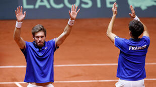 Nicolas Mahut (left) and Pierre-Hugues Herbert won France's first point of the 2018 Davis Cup final against Croatia.