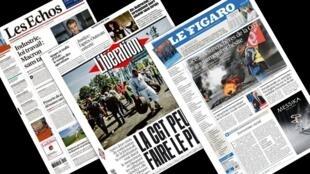 Capa dos jornais franceses Le Figaro, Libération, Les Echos desta terça-feira, 24 de março de 2016.
