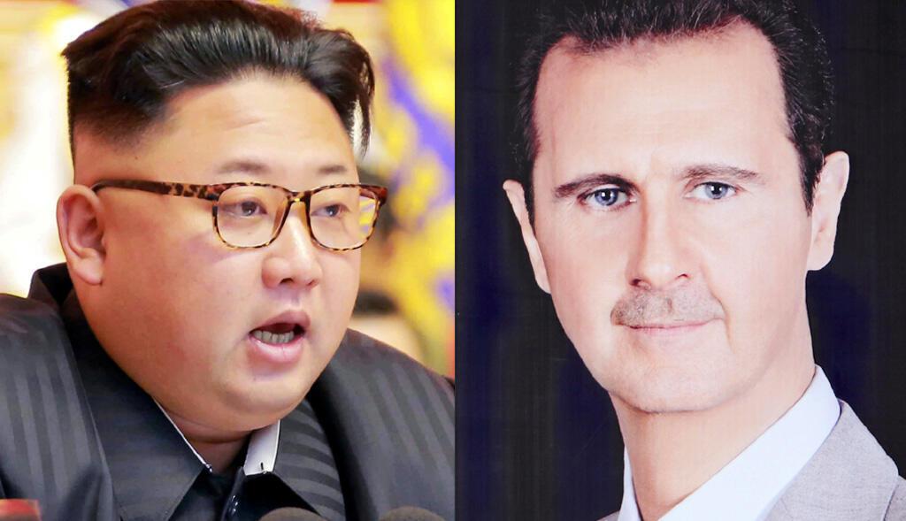 Lãnh đạo Bắc Triều Tiên Kim Jong (T), tổng thống Syria Bachar Al Assad. Ảnh ghép minh họa