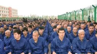 """聯合國的一個專家報告指大約百萬穆斯林被關入新疆的""""再教育營"""""""