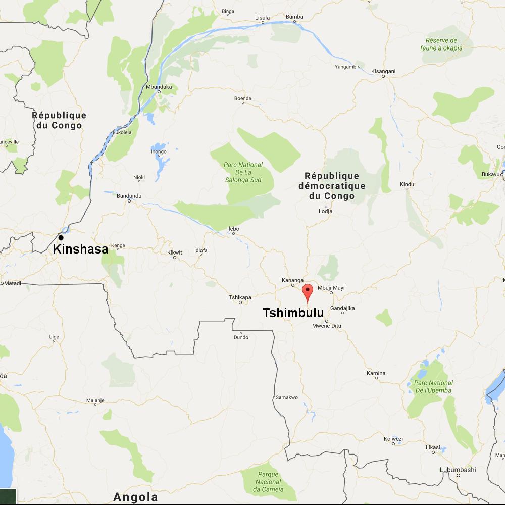 Mji wa Tshimbulu unapatikana katika mkoa wa Kasaï ya Kati, nchini DRC.
