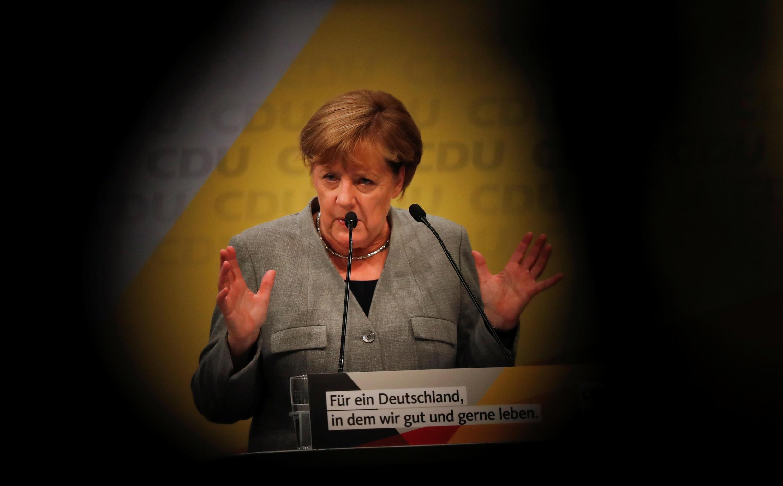德國總理默克爾在基民盟競選造勢大會上講話,2017年9月12日。