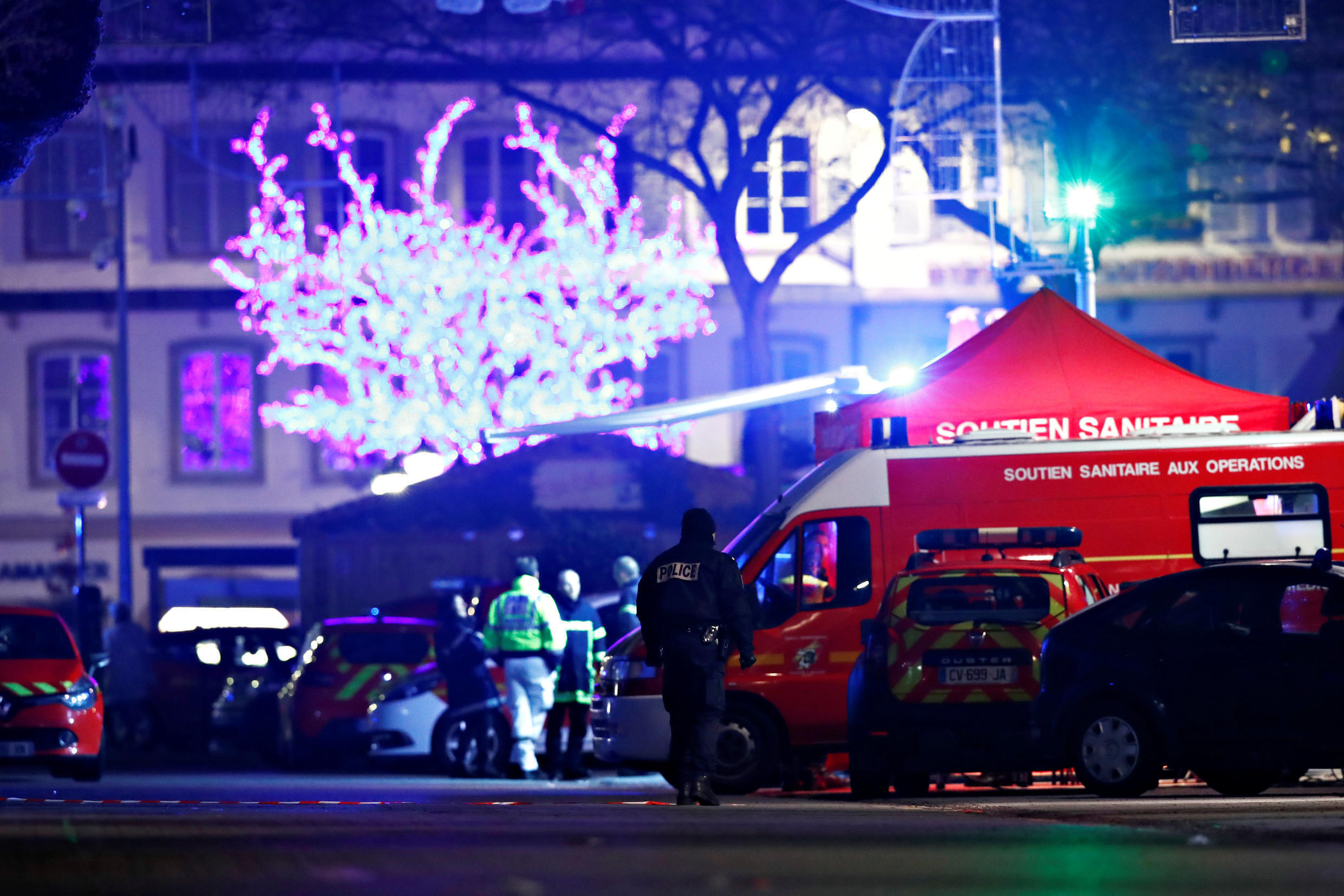 Police work at an area after a shooting in Strasbourg, France, 12 December 2018.