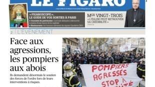 A revolta dos bombeiros franceses após a morte de um cabo de 27 anos esfaqueado durante resgate é destaque do jornal Le Figaro desta quarta-feira, 12 de setembro