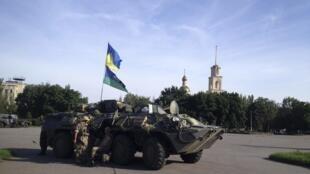 Dakarun Ukraine, da tankar yakin da suka karbe daga hannun 'yan tawaye masu goyon bayan kasar Rasha