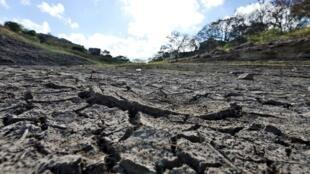 Une vue du réservoir sec du barrage de Los Laureles qui fournit de l'eau à la capitale hondurienne, à Tegucigalpa, le 10 mars 2019.