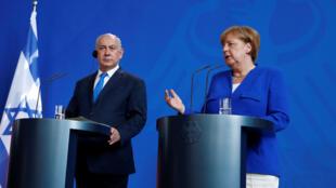 کنفرانس مشترک خبری آنگلا مرکل صدراعظم آلمان و بنیامین نتانیاهو، نخست وزیر اسرائیل در برلین. دوشنبه ۱۴خرداد/ ۴ ژوئن ٢٠۱٨