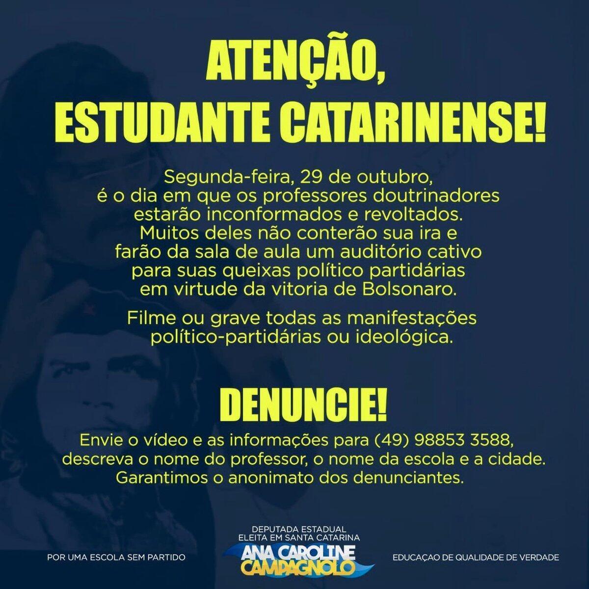 Diputada brasileña del PSL pide que denuncien a profesores por adoctrinamiento