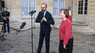 Le Premier ministre français Edouard Philippe et la ministre chargée des Affaires européennes Nathalie Loiseau, le 17 janvier 2019.