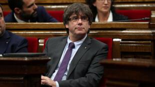 Ông Carles Puigdemont, Chủ tịch Catalunya tại nghị viện vùng ngày 07/09/2017.