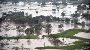 Les terres inondées du département d'Escuintla, au sud de la capitale du Guatemala, le 15 octobre 2011.