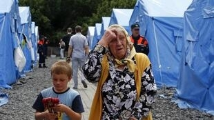Le camp de Novocharktinsk où se trouvent des réfugiés ukrainiens, dans la région de Rostov sur le Don, le 9 juillet 2014.