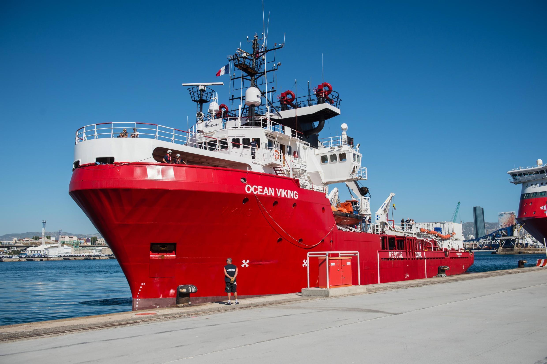 Le navire «Ocean Viking» amarré au port de Marseille, le 29 juillet 2019.