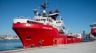 Le navire «Ocean Viking» amarré au port de Marseille le 29 juillet 2019.