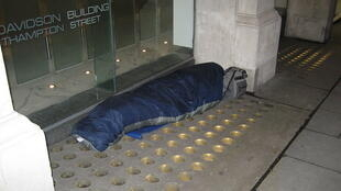 One of the homeless residents of London. Covent garden area.