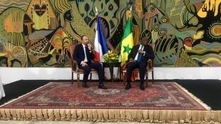 French President Édouard Philippe in a bilateral meeting with Senegal's President Macky Sall