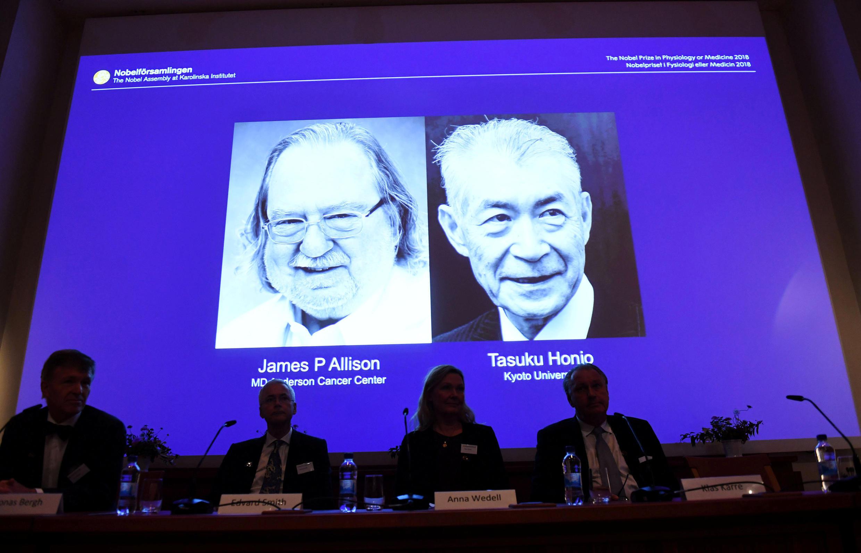 Le prix Nobel de médecine est attribué à l'Américain James P. Allison et au Japonais Tasuku Honjo, le 1er octobre 2018.