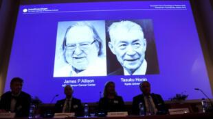 Le Prix Nobel de médecine est attribué à l'Américain James P. Allison et au Japonais Tasuku Honjo, le 1er octobre 2018. Il récompense leurs travaux sur l'immunothérapie.