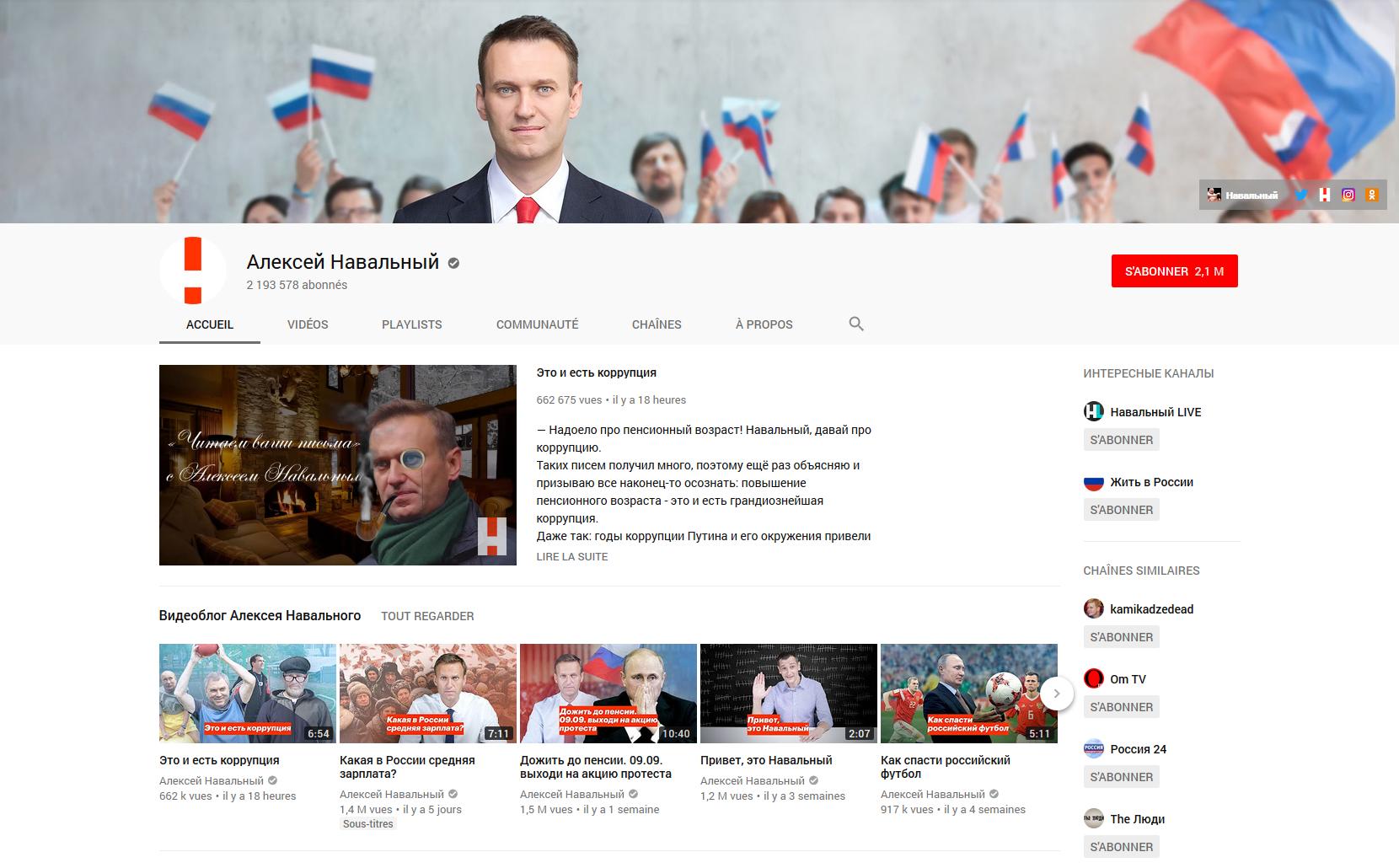 La chaîne youtube de l'opposant russe Alexeï Navalny comptabilise plus de 2 millions d'abonnés.