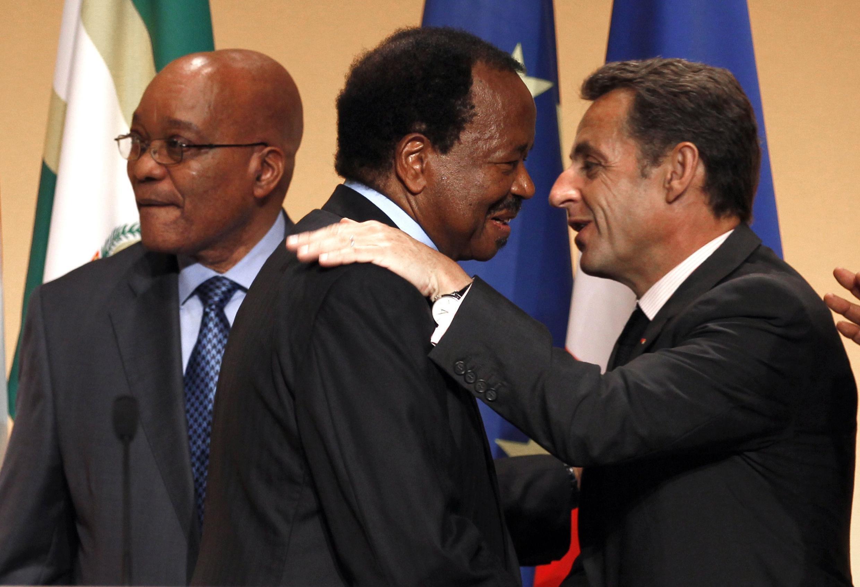 France's President Sarkozy, Cameroon President Biya and South Africa's President Zuma