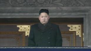 Supreme - Kim Jong-un watches Thursday's ceremony on Kim Il-Sung Square, Pyongyang