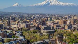 Mount Ararat and the Yerevan skyline in Armenia.